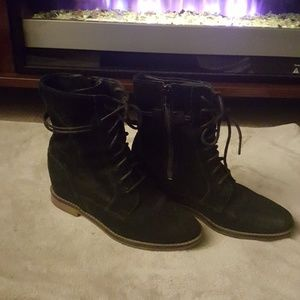 """Black suede ankle boots with hidden  3"""" wedge."""